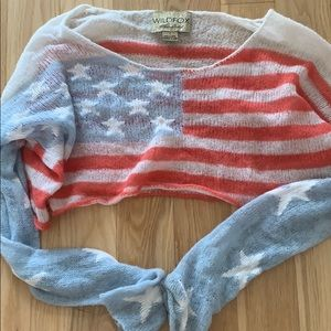 WILDFOX AMERICAN FLAG CROP SWEATER TOP
